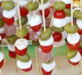 Italian skewers with olives mozzarella cheese and cherry tomatoe Royalty Free Stock Photo