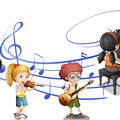 Many kids playing music together Royalty Free Stock Photo