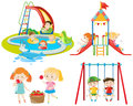 Many kids playing at the playground and in the pool Royalty Free Stock Photo