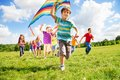 Many kids run with kite happy together on sunny summer day Stock Image