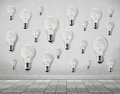 Many light bulb on wall Royalty Free Stock Photo