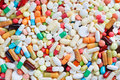 Many medication from above different colorful and pills Stock Image