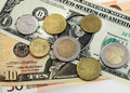Many  money euro and dollars and coins Royalty Free Stock Images
