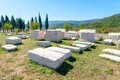 Many monumental medieval tombstones lie scattered in Herzegovina Royalty Free Stock Photo