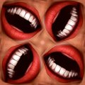 Many Mouths Seamless Tile Pattern Background 3 Royalty Free Stock Photography