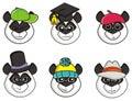Many mugs Panda hats