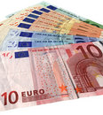 Many new colorful euro isolated, savings wealth Royalty Free Stock Images