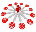 Many Opportunities are Targeted - Man and Arrows Stock Image