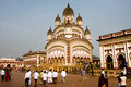 Many people around famouse colorful Dakshineswar Kali Temple Royalty Free Stock Photo
