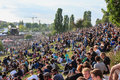 Many people in crowded park (Mauerpark) at fete de la musique Royalty Free Stock Photo