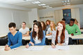 Many people doing further training school classroom Stock Photo