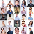 Many people faces collage different situations studio pictures Stock Photos