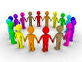 Many people form a circle different colored Royalty Free Stock Image