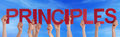 Many People Hands Holding Red Straight Word Principles Blue Sky Royalty Free Stock Photo