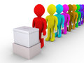 Many people in line are about to vote d standing a row front of a ballot box Royalty Free Stock Photography