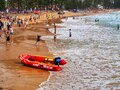 Swimmers and Surf Rescue Boat, Manly Beach, Sydney, Australia Royalty Free Stock Photo