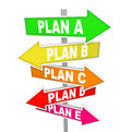 Many Plans Rethinking Strategy Plan A B C SIgns Stock Images