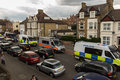 Many police vehicles Royalty Free Stock Photo