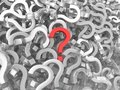 Many question marks - one is red Royalty Free Stock Photo