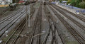 Many railroad track, aerial view of railroad station platform Royalty Free Stock Photo