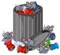 Many rats searching trashcan