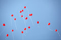 Many red balloons in the sky Royalty Free Stock Photo