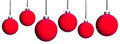 Many red christmas tree balls six isolated before white background Stock Photos