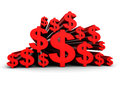 Many Red Dollar Currency Symbols Royalty Free Stock Photo