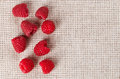 Many red ripe raspberry fruit on gray linen table cloth with copy space design ready Stock Image