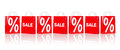 Many red shopping bags with sale and percentage Royalty Free Stock Photo