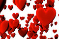 Many red velvet hearts isolated over white Royalty Free Stock Photography