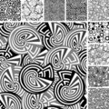 Many seamless black and white patterns Royalty Free Stock Images