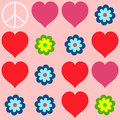Many shapes of heart flowers and peace symbol hearts Royalty Free Stock Image
