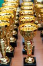 Many shiny gold trophies rows Stock Images