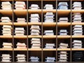 Many shirts in showwindow of boutique Royalty Free Stock Photo