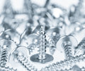 Many silver screws toned grey Royalty Free Stock Photo