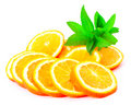Many sliced oranges and green plant Royalty Free Stock Photo