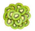 Many slices of kiwi fruit on white background Royalty Free Stock Photos