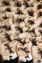 Many small brown bags of fabric Royalty Free Stock Photo