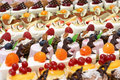 Many small desserts close together Royalty Free Stock Photo