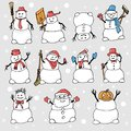 Many snowmen with different objects and poses