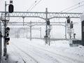 Many snowy railroad tracks Royalty Free Stock Photo