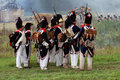 Many soldiers holding guns borodino historical reenactment battle russian french armies taken september borodino moscow region Stock Photo
