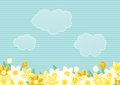 Many spring flowers sky clouds place your text Stock Photography