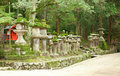 Many stone lanterns in Kasuga shrine in Nara Stock Images