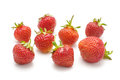 Many strawberries isolated on the white background red Stock Image