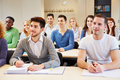Many students seminar studying listening university classroom Royalty Free Stock Photography