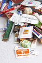 Many sugar sachets of cafes and restaurants from different countries. Illustrative editorial photo collection packets.