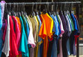 Many summer dresses in various colors a Stock Photo