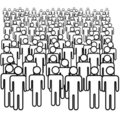Many symbol people black isolated crowd Stock Photo